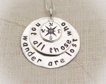 Not All Those Who Wander Are Lost  Neckkace LOTR Jewelry Compass Necklace Traveler Gift Graduation Gift Hand Stamped Jewelry