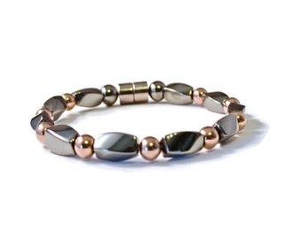 Men's Magnetic Bracelet, Black High Power Hematite and Copper Metallic, Arthritis Jewelry, Pain Relief