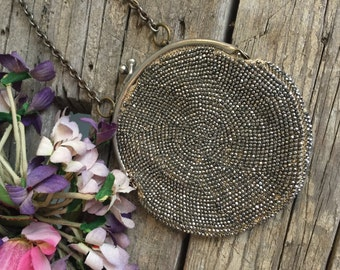 Antique Edwardian French Cut Steel Beaded Purse