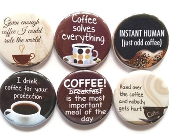 Coffee Magnets, Funny Coffee Magnets, Coffee Lovers Gift, Coffee Gift, Coffee Lover Magnets, Coffee Decor, Coffee Fridge Magnets, 6/Set