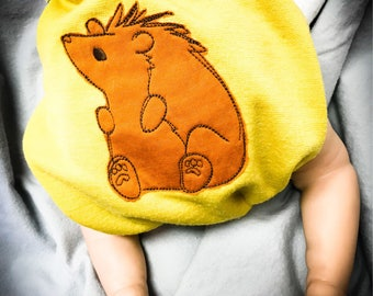 MamaBear BabyWear One Size Wool Diaper Cover Wrap - Embroidered Hedgehog