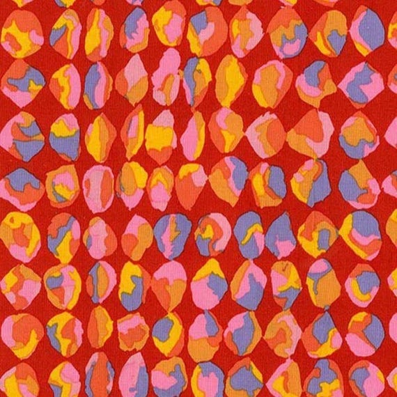 BAUBLES RED PWBM061 Brandon Mably for Kaffe Fassett Collective Sold in 1/2 yd increments