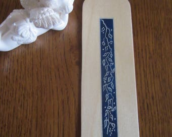 Inlay wood hand painted bookmark
