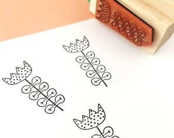 Rubber Stamp, Laser Engraved Stamp, Flower Stamp, Mid Century Modern Flower Stamp, Hand Drawn Stamp, Floral Stamp, Pattern Stamp, Crafts