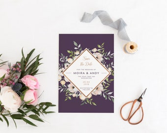Floral Save The Date Card, Purple Save The Date Card, Printed Save The Date Card, Wedding Announcement, Royal Oak Collection