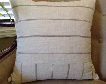 Neutral Striped Pillow Cover 18|20|22|24 inch Neutral Home Decor Cream Pillow Cover Tan Stripe Pillow Cover Farmhouse Decor Blue Tan Pillow