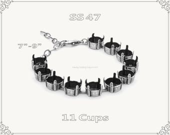1 pc.+ 11 Cups, SS47 Empty Cup Chain for Bracelet - Antique Silver Color