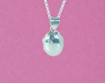 sterling silver locket pendant - 3pcs - oval locket - silver oval keepsake locket charm - silver box locket - round sterling pendant
