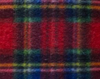 Red Plaid Print Fleece Fabric by the yard
