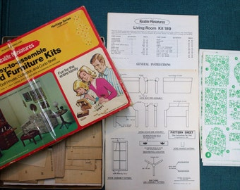 Vintage Wood Miniature Furniture Kit-PRICE REDUCED
