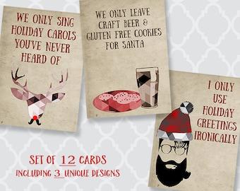 Hipster, Christmas Cards, Funny, Holiday Season Card, Reindeer, Red, Santa, Ukulele, Beer, Cookies, Printed, Folding, 12 Assorted Cards