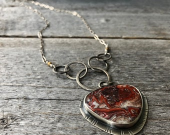 Crazy Lace Agate Necklace—Hammered Sterling Silver Links—Red and White Crazy Lace Agate Necklace—Ready-to-Ship