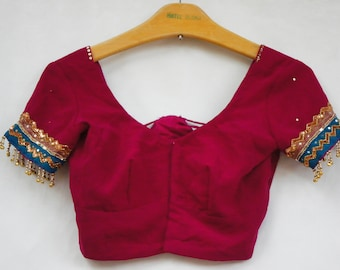 Vintage Indian Sari Top/Cropped Top/Belly Dancer/Bohemian Chic/Gypsy/Ethnic