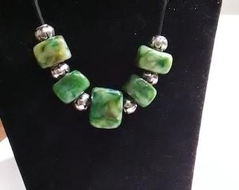 Faux Jade Blocks Necklace Earring Set OOAK Polymer clay