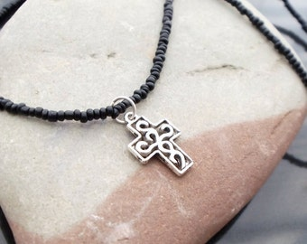 Cross charm necklace, minimalist cross necklace, holiday jewelry, mothers day gift, gift for mom, black and silver, wedding jewelry, teen