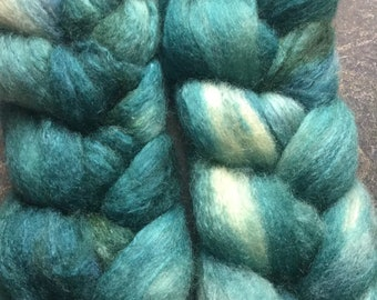 BFL and Silk Combed Top Roving Ocean Blues Colorway