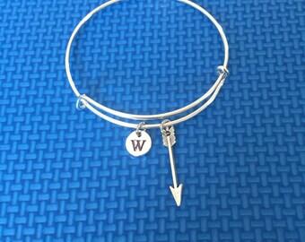 arrowhead initial Bracelet, arrowhead Bracelet Bangle, hunters Gift, hunters Jewelry, CP35