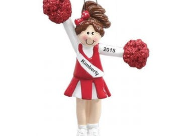Personalized Brunette Red Cheerleader with Pom Poms Christmas Ornament- Free Personalization