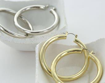 Chunky Lightweight Hoop Earrings - Hoops - Silver Hoops - Simple Everyday Hoop Earrings - Classic Hoops - Big Hoop Earrings