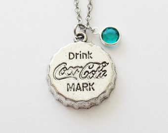 Coke Necklace, Coca Cola, Bottle Cap, Soda Pop, Drink Jewelry, BFF Gift, Birthday Gift, Silver Jewelry, Swarovski Channel Crystal Birthstone
