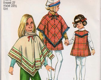 Girls Poncho Pattern Childs Poncho 1970s Outfit SIMPLICITY 8944 Girls Size 8 Vintage Girls Jumper Pattern Girls Pants Pattern Retro Outfit