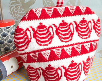 Knitted Teapots Tea Cosy/Cozy Red White Blue