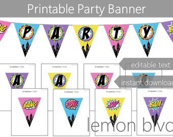 Superhero Girl Party Banner   Instant Digital Download   Editable Text   Super Hero Girl Comic Party Bunting Banner