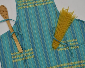 Handwoven Cotton Apron in Turquoise and Yellow Ap05d