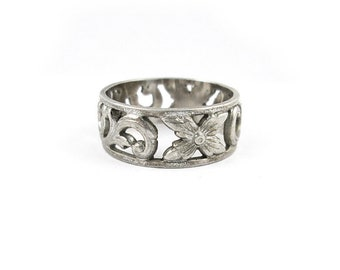 Sterling Silver Flower Ring | Size 9 | Vintage Womens Ring