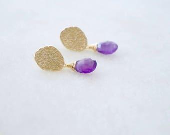 Simple Gold Post Earrings - Amethyst Earrings, Simple Stud Earrings, Gemstone Earrings, Purple Stone Earrings,Gold Round Posts,Gold Earrings