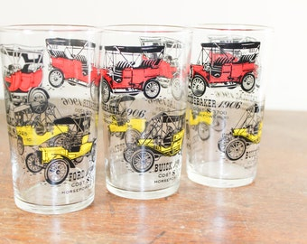 Set of 3 Libbey Glass Tumblers - Buick 1910, Cadillac 1906, Ford 1906 / Collectible Antique Cars  - Gifts for Him
