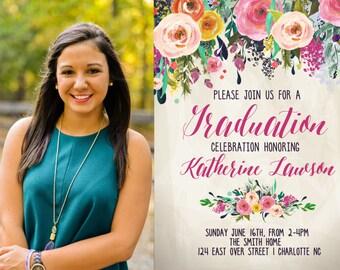 Graduation Party Invitation Floral Graduation, Graduation Photo Printable Invitation Watercolor, sublime,  sfc, graduation announcement