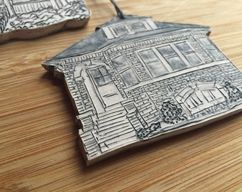 Custom House Ornament - Cut Out - Porcelain - First House - Housewarming - Sentimental Gift