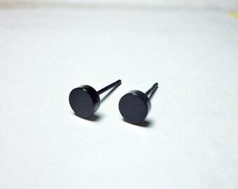 Black Dot Stud Earrings 6mm, Round Stud Earrings