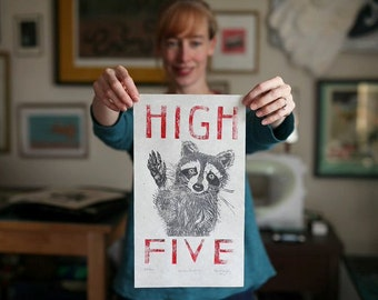 Raccoon High Five Linocut, Typography with Raccoon, White, Black and Red, High Five Lino Block Print