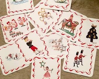 12 Days of Christmas Tiny Cards, Use For Coasters ,Ornaments,Enclosure Cards, Place Cards