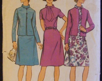 """1972 Simplicity Sewing Pattern 5394 Misses' Dress / Jacket Size 14 Bust 36"""""""