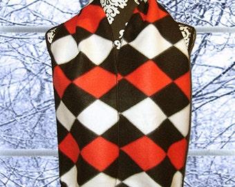 Red, Black and White Harlequin Diamonds Fleece Scarf, Multicolored Muffler, Unisex Neck Scarf