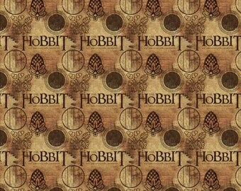 Lord of the Rings, The Hobbit Logo on Brown Cotton Woven