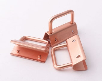 10pcs Rose gold Key Fob Hardware Key Chain key rings Ribbon Key Fobs Fabric Keyfob For Lanyards Keychains Straps Wristlets