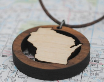 Wooden Wisconsin Necklace State Pride Jewelry Local Neighborhood Area Code Jewelry Hometown Home State Long Distance College Going Away Gift