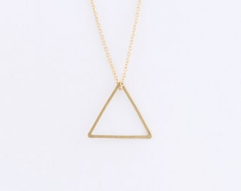 Brass Triangle Necklace on a 14k Gold Filled Chain — minimal geometric necklace