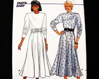 80s Butterick Pattern Flared Skirt Dress Pattern size 8 10 12 Classic Dress, Loose Bodice, Flared Gored Skirt Dress UNCUT