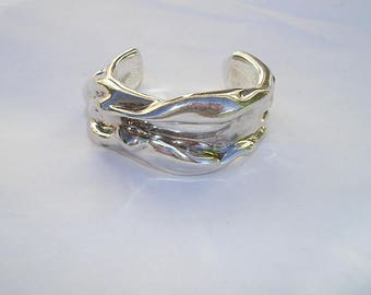 Lovely Sterling 925 Freeform Modernist Wide Cuff Bracelet Signed J 925
