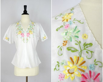 Vintage Lily white sheer hand embroidered blouse / folk style short sleeves top