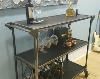 Bar cart, industrial wine bar, mid century design serving cart, modern/retro/vintage home bar, industrial restaurant