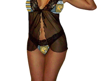 Green Bay Packers Lace Babydoll Negligee Lingerie Teddy Set - Small Top, Medium G-String Panty - Ready to Ship
