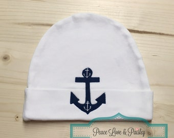 Anchor Baby Hat, Nautical Baby Hat, Navy Blue Anchor Baby Hat, Nautical Baby Shower Gift, New Baby Gift, Sailor Baby
