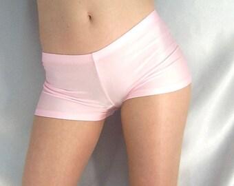 Baby Pink shiny spandex micro shorts hot pants