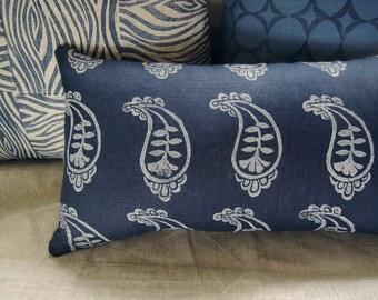 Palace Paisley dark indigo blue hand block printed boho home decor decorative linen pillow case